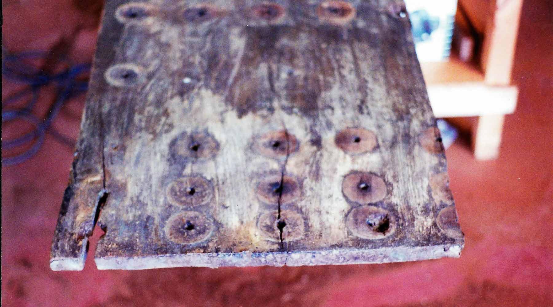 Detalle de restauración en madera